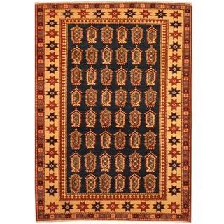 Herat Oriental Afghan Hand-knotted Vegetable Dye Tribal Shirvan Wool Rug (4' x 5'8)