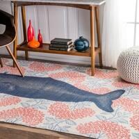 nuLOOM Handmade by Thomas Paul Cotton Printed Whale Rug  (6' x 9') - 6' x 9'