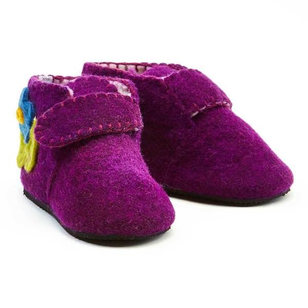 Handmade Felt Purple Zooties Toddler Booties (Kyrgyzstan)