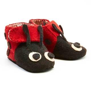 Handmade Felt Ladybug Zooties Toddler Booties (Kyrgyzstan)
