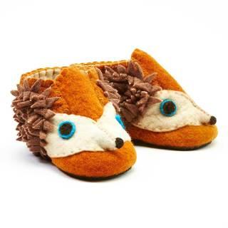 Handcrafted Felt Hedgehog Zooties Toddler Booties (Kyrgyzstan)
