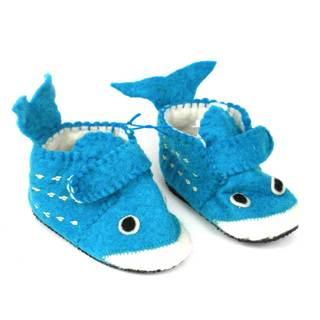 Handmade Felt Whale Zooties Toddler Booties (Kyrgyzstan)
