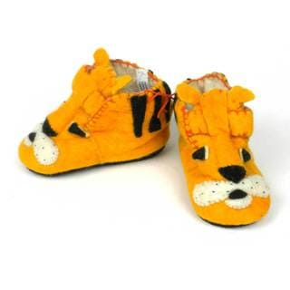 Handmade Felt Tiger Zooties Toddler Booties (Kyrgyzstan)