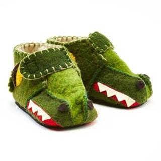Handcrafted Felt Alligator Zooties Toddler Booties (Kyrgyzstan)
