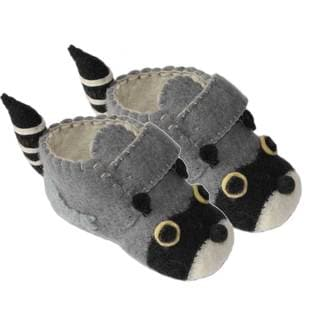 Handcrafted Felt Raccoon Zooties Toddler Booties (Kyrgyzstan)