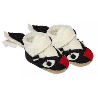 Handcrafted Felt Skunk Zooties Toddler Booties (Kyrgyzstan)