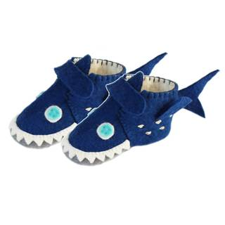 Handmade Felt Shark Zooties Toddler Booties (Kyrgyzstan)