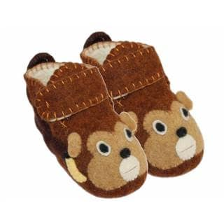 Handcrafted Felt Monkey Zooties Toddler Booties (Kyrgyzstan)