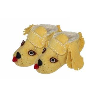 Handmade Felt Golden Retriever Zooties Toddler Booties (Kyrgyzstan)