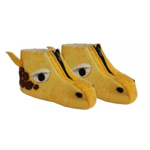Handmade Felt Giraffe Zooties Kids Slippers (Kyrgyzstan)