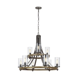 Feiss Angelo 9 Light Distressed Weathered Oak / Slated Grey Metal Chandelier