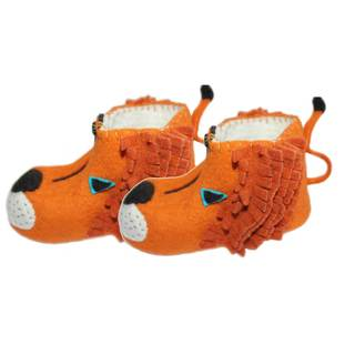 Handmade Felt Lion Zooties Kids Slippers (Kyrgyzstan)