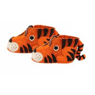 Handcrafted Felt Tiger Zooties Kids Slippers (Kyrgyzstan)