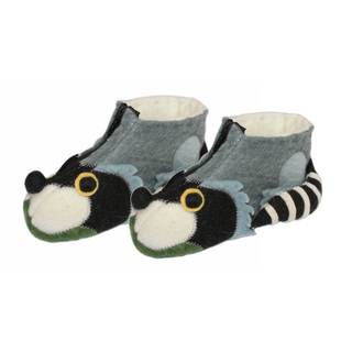 Handcrafted Felt Raccoon Zooties Kids Slippers (Kyrgyzstan)