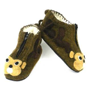 Handcrafted Felt Monkey Zooties Kids Slippers (Kyrgyzstan)