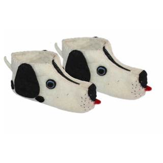 Handcrafted Felt Dalmatian Zooties Kids Slippers (Kyrgyzstan)