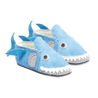 Handcrafted Felt Blue Shark Zooties Adult Slippers (Kyrgyzstan)