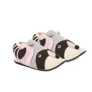 Handcrafted Felt Raccoon Zooties Adult Slippers (Kyrgyzstan)