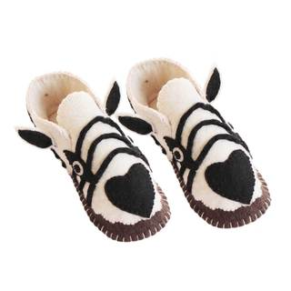 Handcrafted Felt Zebra Zooties Adult Slippers (Kyrgyzstan)