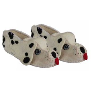 Handcrafted Felt Dalmatian Zooties Adult Slippers (Kyrgyzstan)