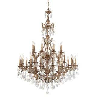 Crystorama Yorkshire Collection 32-light Aged Brass/Swarovski Strass Crystal Chandelier