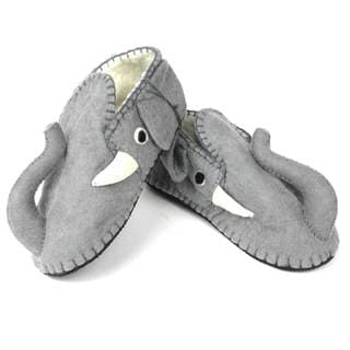 Handcrafted Felt Elephant Zooties Adult Slippers (Kyrgyzstan)