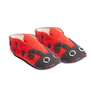Handcrafted Felt Ladybug Zooties Adult Slippers (Kyrgyzstan)