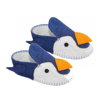 Handcrafted Felt Penguin Zooties Adult Slippers (Kyrgyzstan)