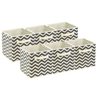 Foldable Storage Cube Basket Bin, 6 Pack, Beige Pattern|https://ak1.ostkcdn.com/images/products/14450691/P21013933.jpg?impolicy=medium