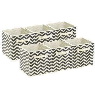 Foldable Storage Cube Basket Bin, 6 Pack, Beige Pattern