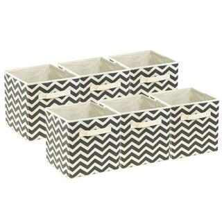 Foldable Storage Cube Basket Bin, 6 Pack, Beige Pattern