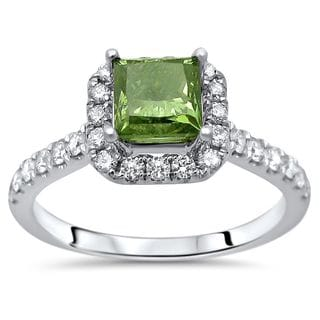 Certified Noori 18k White Gold 1 1/4ct TDW Green Princess Cut Diamond Engagement Ring (Green/F-G, SI1-SI2)