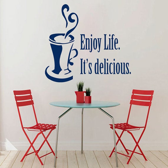Enjoy Life Itu0026#x27;s Delicious Words Cafe Kitchen Wall Decor Vinyl Sticker  Home
