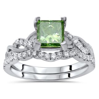 Noori Certified 14k White Gold 1 1/5ct TDW Green Princess Cut Diamond Engagement Ring Bridal Set (Green/F-G, SI1-SI2)