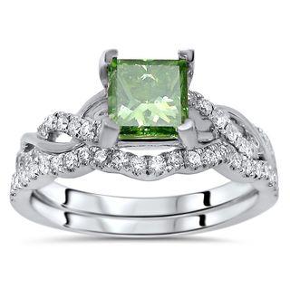 Noori Certified 14k White Gold 1 1/5ct TDW Green Princess Cut Diamond Engagement Ring Bridal Set