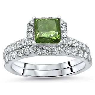 Noori Certified 18k White Gold 1 9/10ct TDW Green Princess Cut Diamond Engagement Ring Bridal Set (Green/F-G, SI1-SI2)