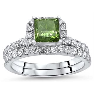 Noori Certified 18k White Gold 1 3/5ct TDW Green Princess Cut Diamond Engagement Ring Bridal Set (Green/F-G, SI1-SI2)