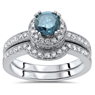 Noori Certified 14k White Gold 1 1/2ct TDW Blue Round Diamond Engagement Ring Bridal Set (Blue/ H-I, SI-2-I1)