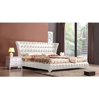Takka Modern White King-Size Platform Bed