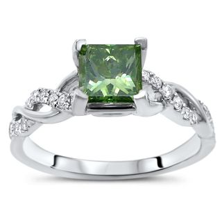 Certified Noori 14k White Gold 1ct TDW Green Princess Cut Diamond Engagement Ring (Green/F-G, SI1-SI2)