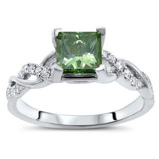 Certified Noori 14k White Gold 1ct TDW Green Princess Cut Diamond Engagement Ring