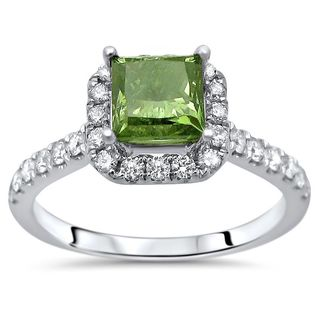 Certified Noori 18k White Gold 1 3/5ct TDW Green Princess Cut Diamond Engagement Ring (Green/F-G, SI1-SI2)