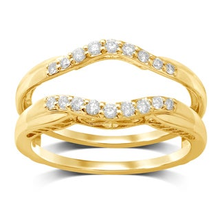 Unending Love 14k Yellow Gold 1/4ct TDW TDW Diamond Wedding Enhancer Guard Double Ring