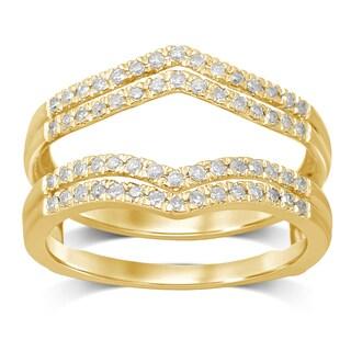 Unending Love 14k Yellow Gold 1/3ct TDW Diamond Anniversary Wedding Band Enhancer Guard