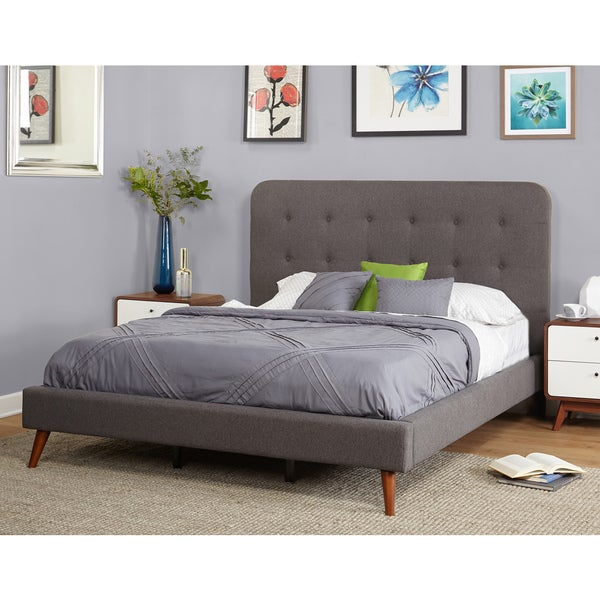 283 Best Images About Fabric Bed Headboards On Pinterest: Simple Living Garbo Mid Century Upholstered Queen Bed