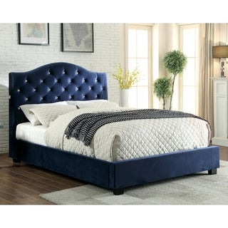 Furniture of America Leon Contemporary Flannelette Platform Bed with LED Headboard