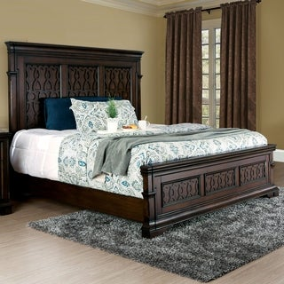 Furniture of America Tongol Transitional Wood Inlay Walnut Finish Panel Bed