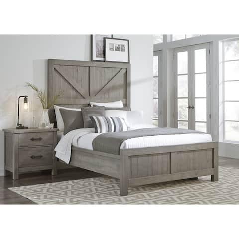 Austin Barn Door Panel Bed in Rustic Gray