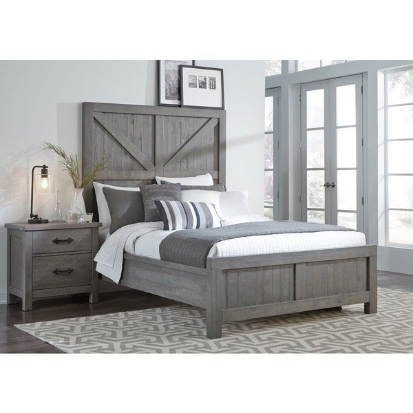 Shop Austin Barn Door Panel Bed in Rustic Gray - Free Shipping Today ...