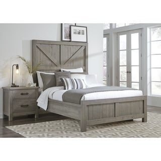 Austin Barn Door Panel Bed in Rustic Gray